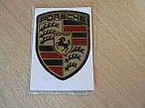 Наклейка s вставка в эмблему Porsche Stuttgart 52х69х1,3мм силиконовая эмблема на авто Порш Порше хром, фото 3