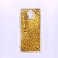 Чехол Glitter для Meizu M3 Note Бампер Жидкий блеск Gold