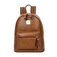 Молодіжний жіночий рюкзак з екошкіри рудого кольору, фото 1