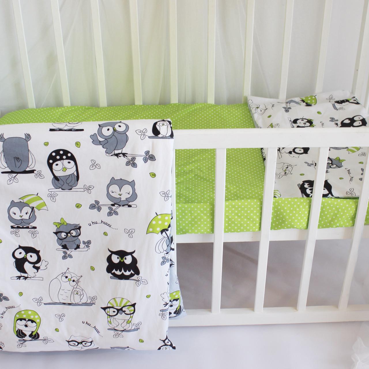 """Постельное бельё в детскую кроватку """"Owls in green"""""""