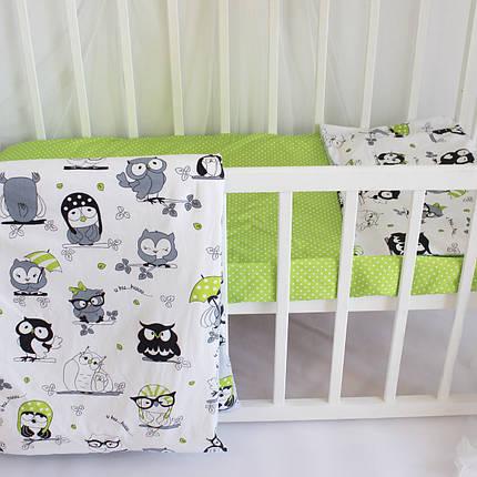 """Постельное бельё в детскую кроватку """"Owls in green"""", фото 2"""