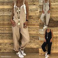 Модный свободный женский комбинезон из льна без вышивки. Яркие всевозможные любимые цвета., фото 1