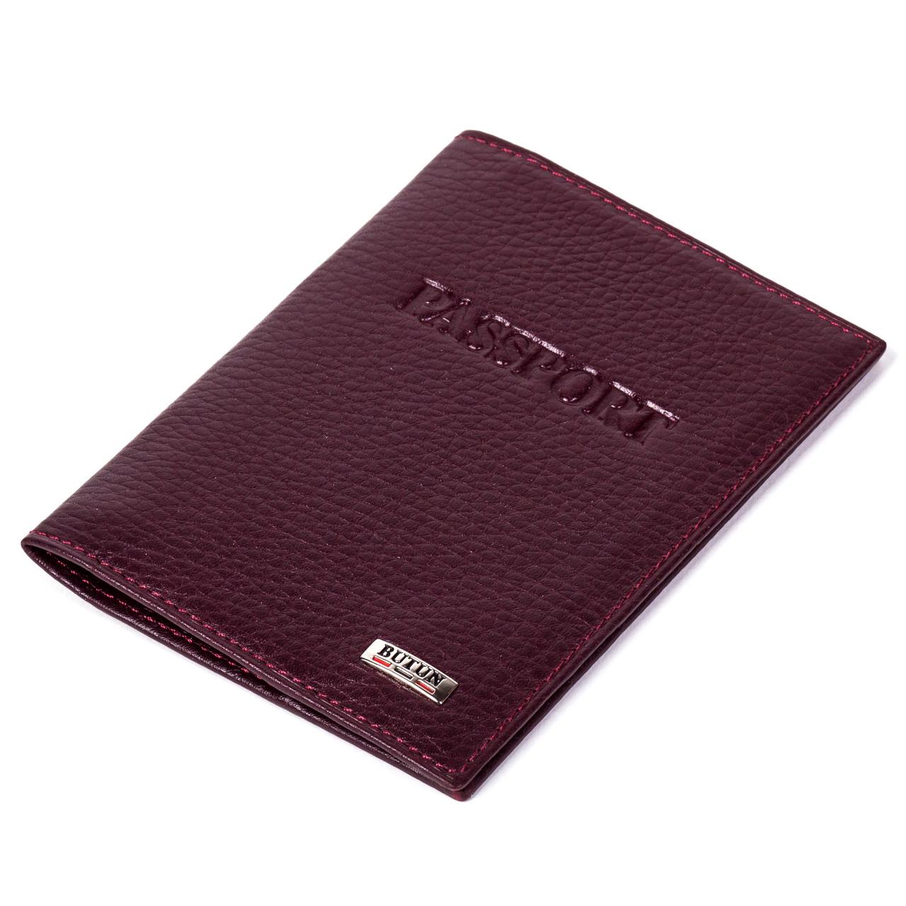 Обложка на паспорт Butun 147-004-002 кожаная бордовая