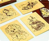 Детский набор для выжигания по дереву (2 рамки, 5 рисунков, 6 насадок + выжигатель), фото 5