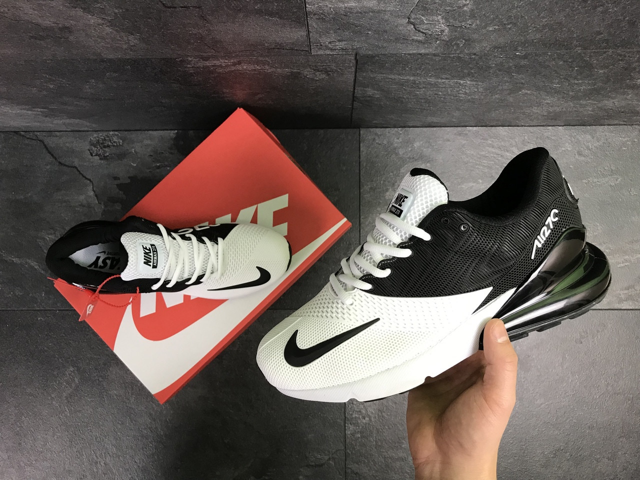 57e165b9 Мужские кроссовки Nike Air Max 270 (Бело-черные) весна-осень, цена 1 ...