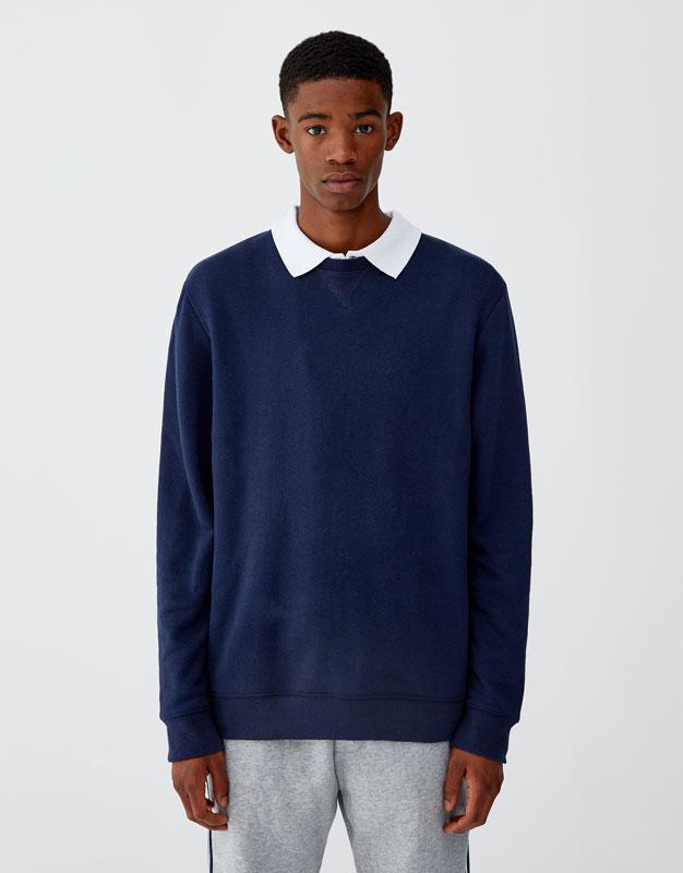 Чоловіча кофта Pull and bear - Світшот темно-синій базовий 19 (толстовка, чоловіча кофта)