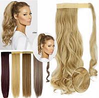 Шиньон, хвост на ленте из искусственных волос 60 см волосы, прямой