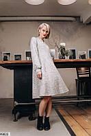 Стильное шерстяное ангоровое платье трапеция свободного кроя скл.1