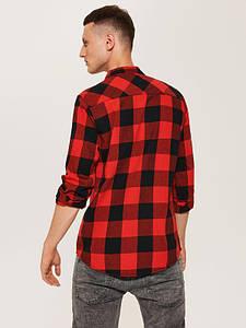Мужская рубашка House - Красно черная slim fit  (чоловіча сорочка)
