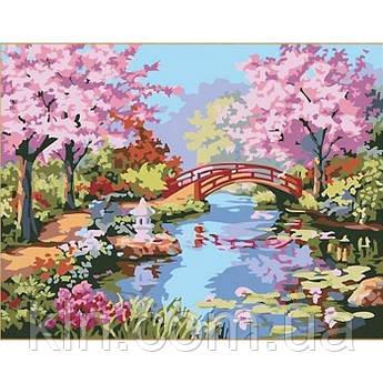 Малювання по номерах КН190 Сад квітучої сакури 40 х 50 см