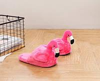 Плюшевые Тапочки Фламинго/без задника