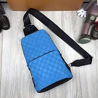 56be5331242c Кожаная женская сумка бананка Louis Vuitton синяя через плечо мужская кожа  унисекс Луи Виттон премиум реплика