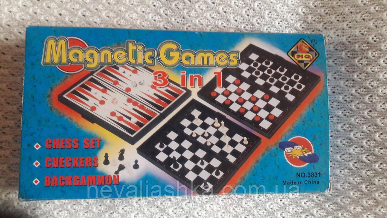 Настольная игра 3*1 Шахматы-шашки-нарды доска и фигуры пласмас.