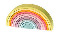 Деревянные развивающие игрушки Пирамидка Grimms Радуга 12 цветов пастель