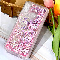 Чехол Glitter для Huawei P Smart Plus Бампер Жидкий блеск сердце розовый