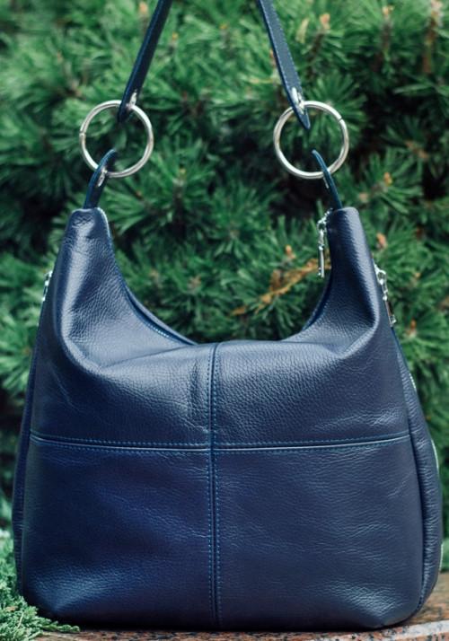 Привлекательная кожаная сумка на плечо синего цвета Видео