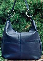 Привлекательная кожаная сумка на плечо синего цвета Видео, фото 1