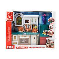 Мебель для куклы барбиКухня длина 27 см, посуда, звук, свет, мебель для домика барби, 3021-3