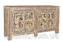 Дерев'яний Індійський комод з ручним різбленням у яскравих пастельних тонах.