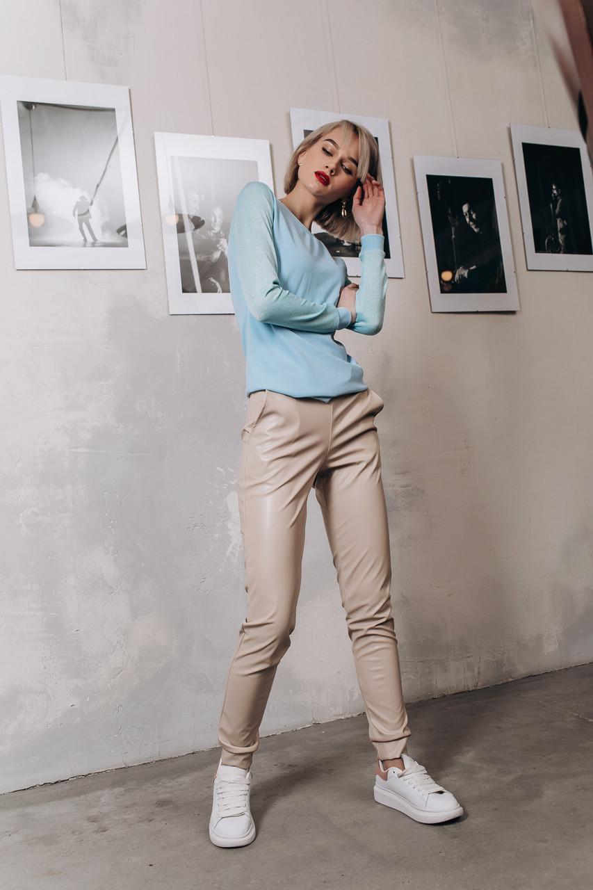 """Кожаные женские брюки на резинке """"BLOOR"""" с карманами (5 цветов)"""