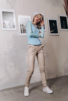 """Кожаные женские брюки на резинке """"BLOOR"""" с карманами (5 цветов), фото 2"""
