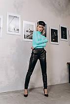 """Кожаные женские брюки на резинке """"BLOOR"""" с карманами (5 цветов), фото 3"""