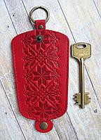 Чехол для ключей средний красный узор Вышиванка, фото 1