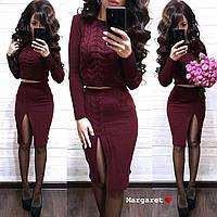 Вязаный костюм укороченный свитерок+юбка, фото 1