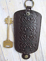 Чехол для ключей средний т-коричневый узор Вышиванка , фото 1