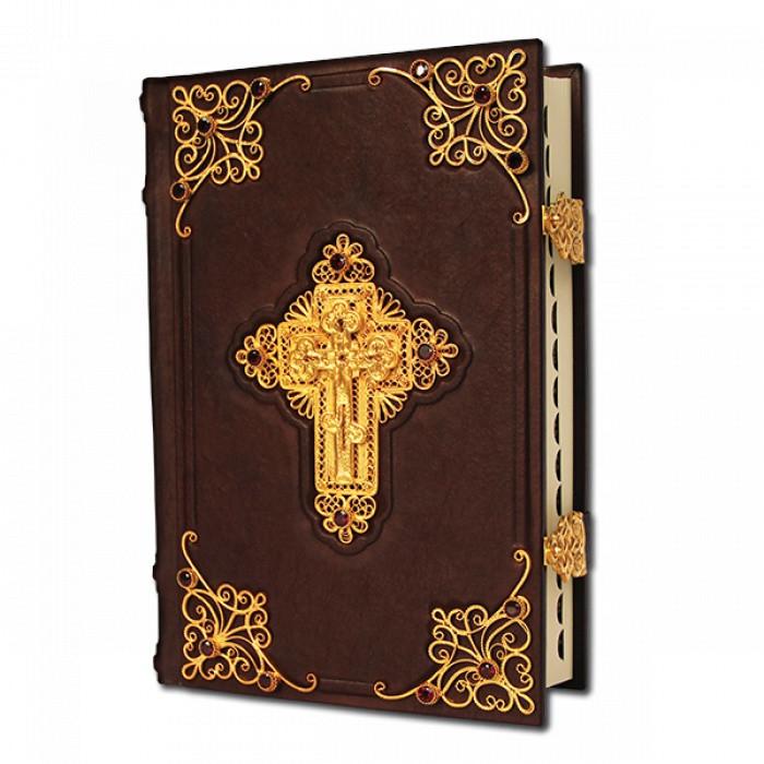 Біблія в шкіряній палітурці з філігранню покритою золотом (з коментарями та індексами для пошуку)