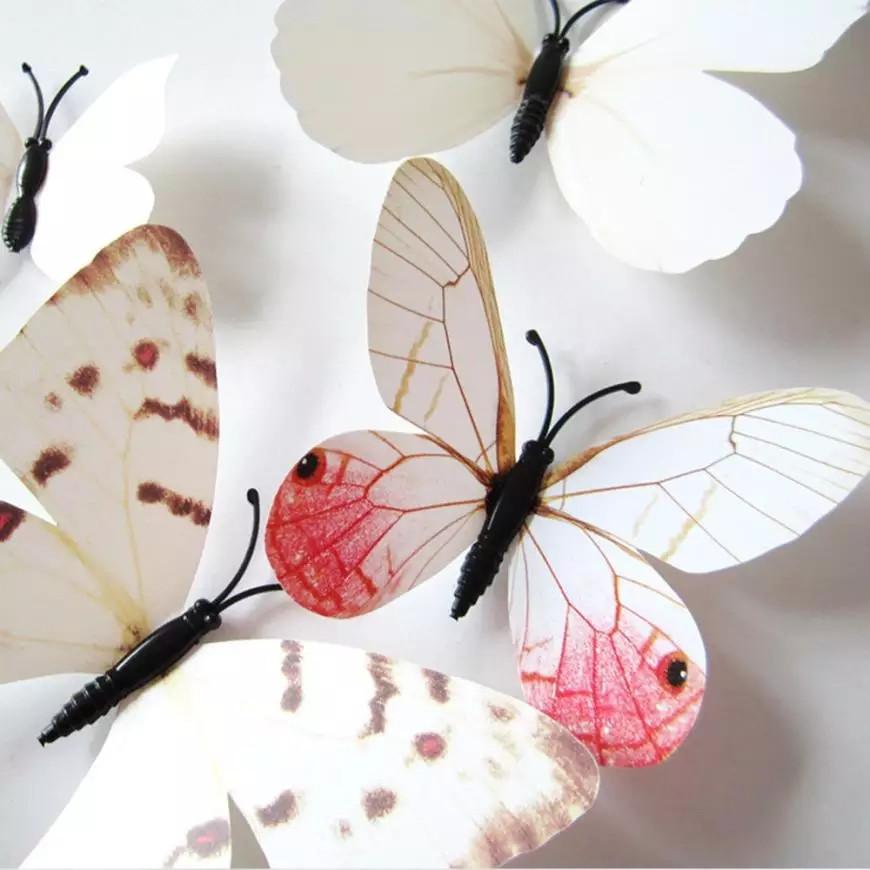Бабочки 3D белые на магните