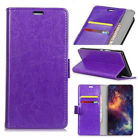 Чехол книжка для LG G7 One боковой с отсеком для визиток, Гладкая кожа, фиолетовый