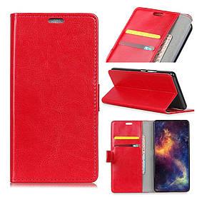 Чехол книжка для LG G7 One боковой с отсеком для визиток, Гладкая кожа, красный