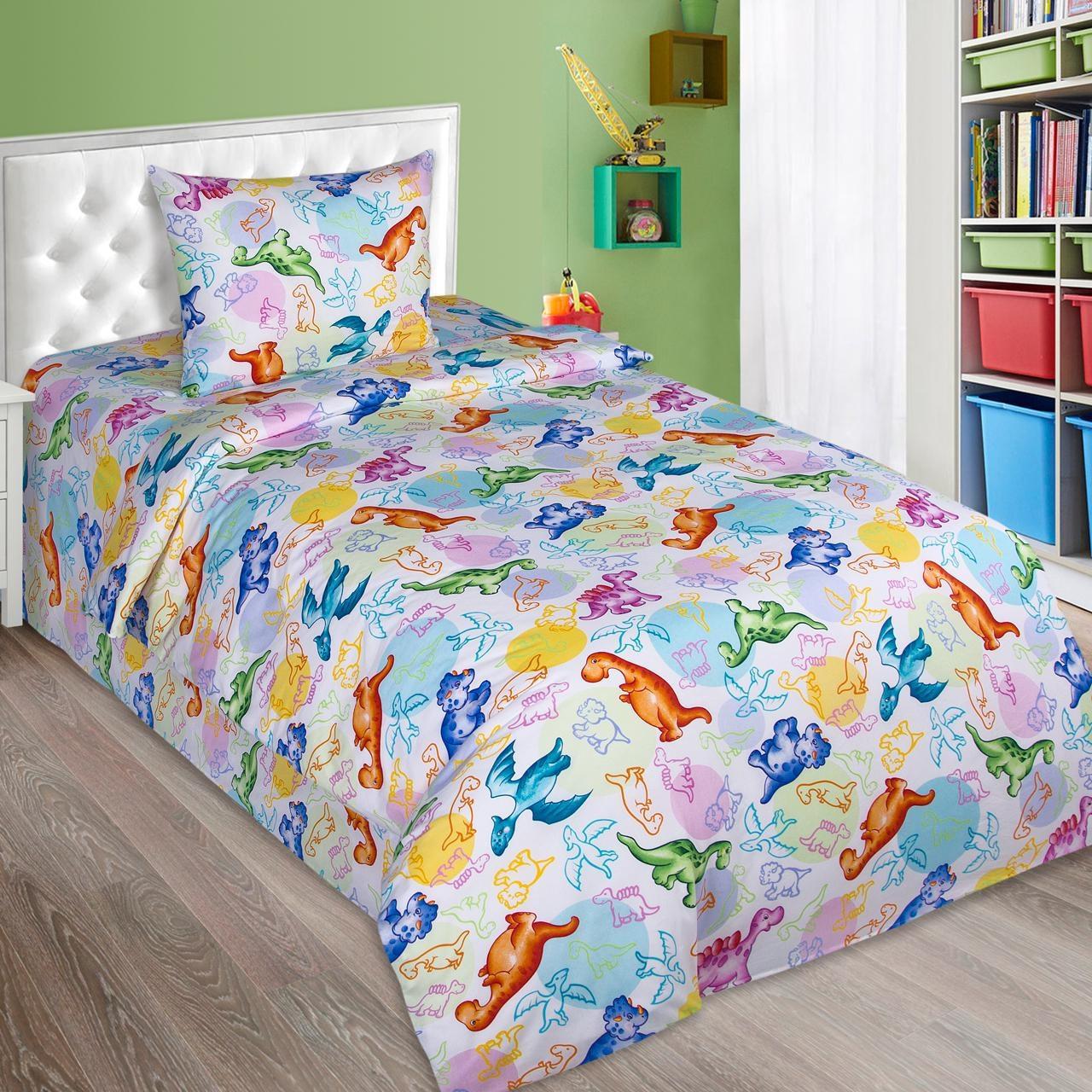 """Комплект постельного белья """"Динозаврики поплин"""", в кроватку"""