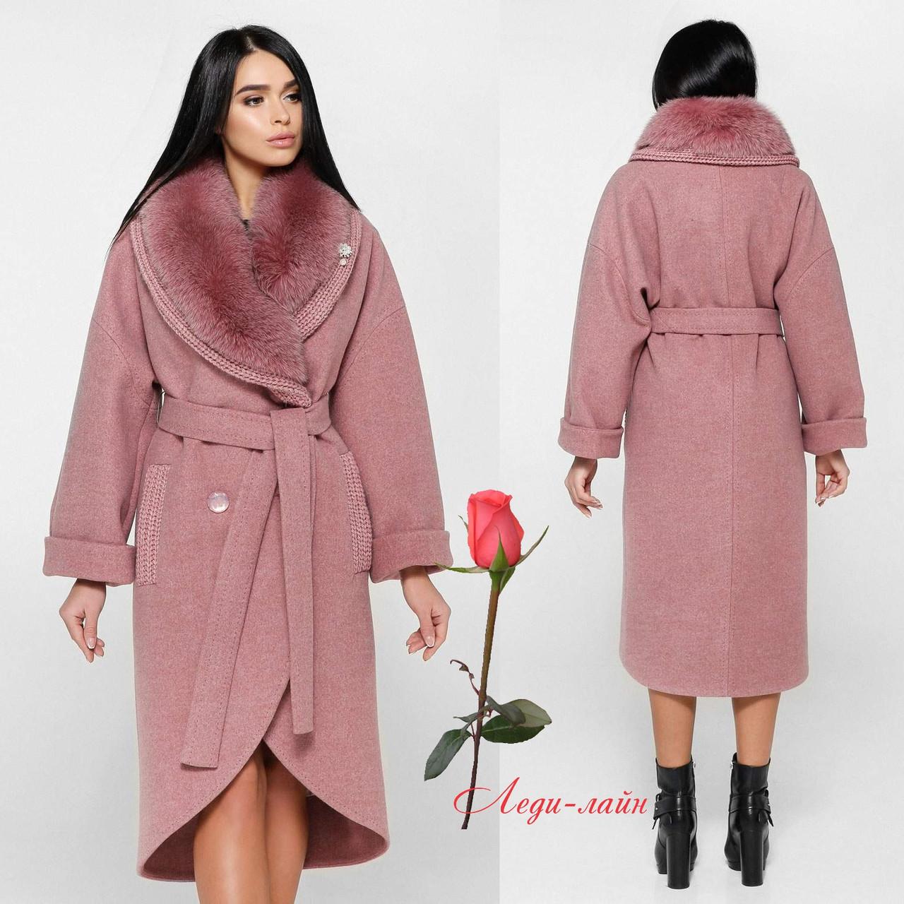 Зимнее женское пальто с шалевым воротником и натуральным мехом  F-1089  Розовый