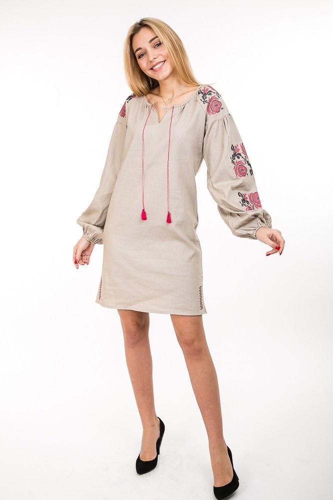 Современное платье-вышиванка Очарование лён светло-бежевое