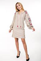 Современное платье-вышиванка Очарование лён светло-бежевое, фото 1