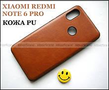 Коричневый чехол под кожу для Xiaomi Redmi Note 6 Pro, эластичный TPU бампер