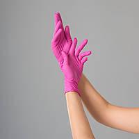 Рукавички нітрилові Polix PRO&MED, 100 штук в упаковці, розмір XS (рожевий)
