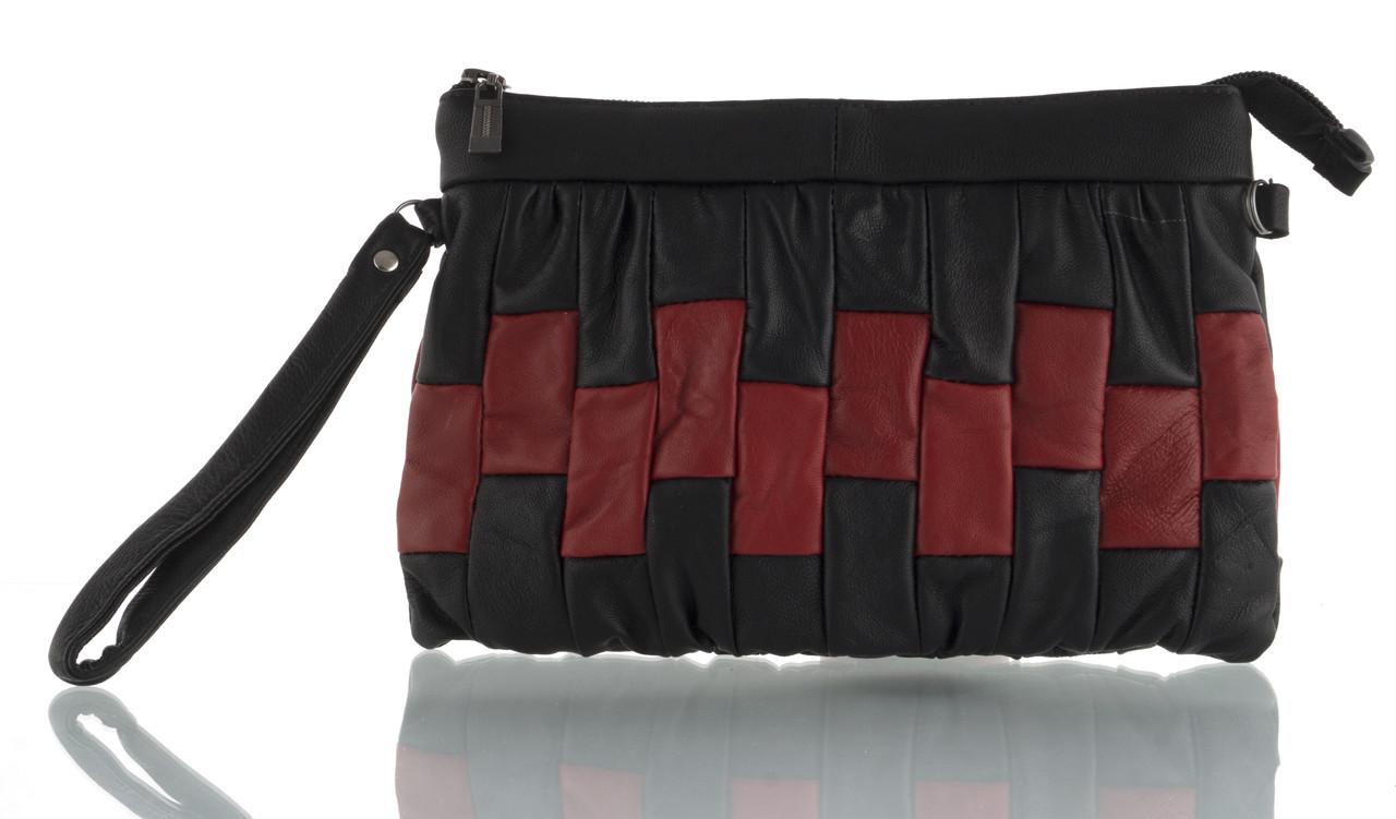 Прочная вместительная кожаная женская косметичка art. (103624) черная/красная
