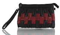 Прочная вместительная кожаная женская косметичка art. (103624) черная/красная, фото 1
