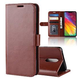 Чехол книжка для LG G7 Fit боковой с отсеком для визиток, Гладкая кожа, коричневый