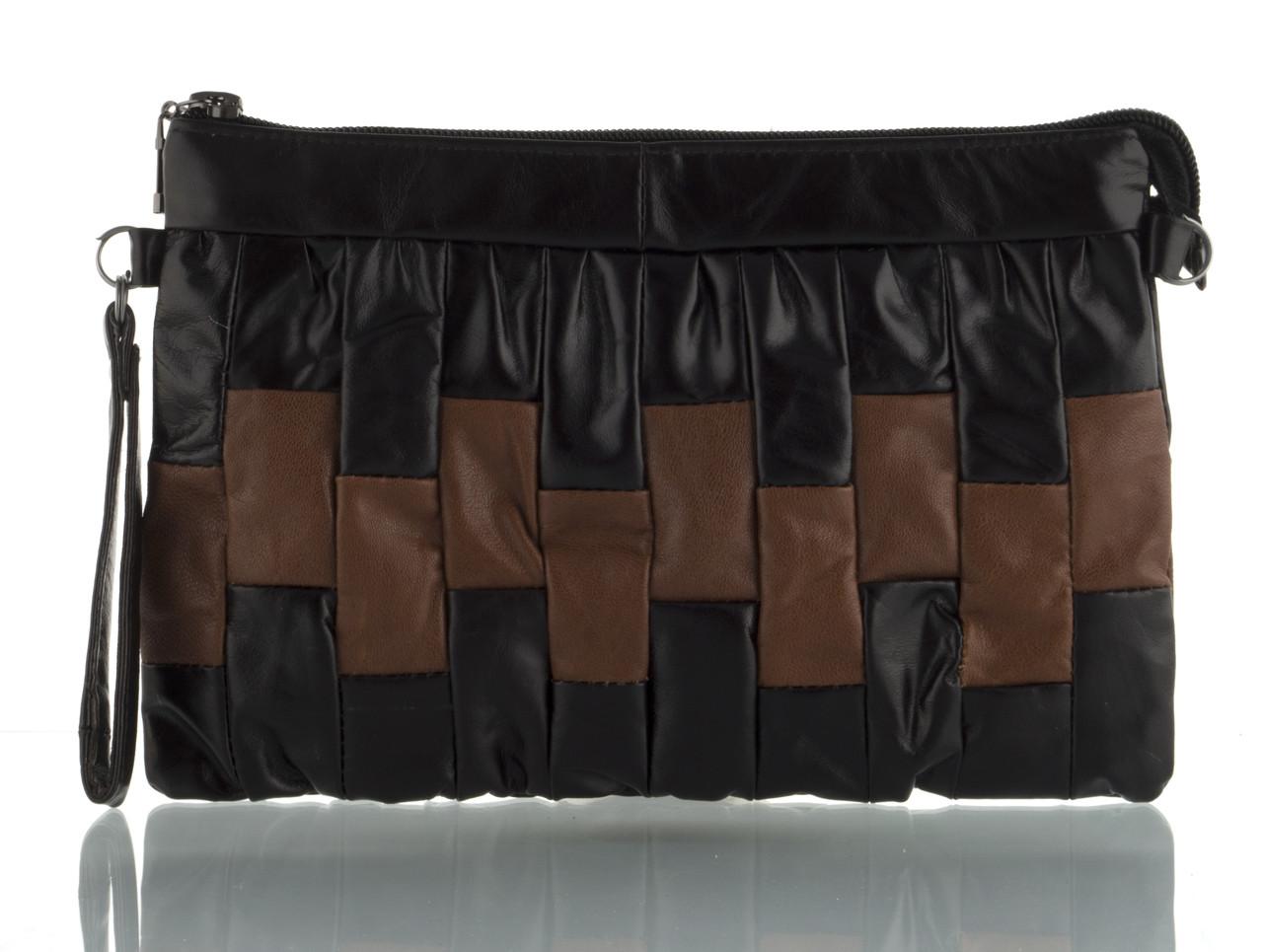 Прочная вместительная кожаная женская косметичка art. (103621) черная/коричневая