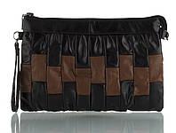 Прочная вместительная кожаная женская косметичка art. (103621) черная/коричневая, фото 1