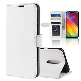 Чехол книжка для LG G7 Fit боковой с отсеком для визиток, Гладкая кожа, белый