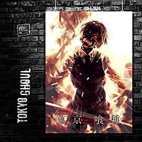 Постер Токийский гуль, Tokyo ghoul, аниме. Размер 60x42см (A2). Глянцевая бумага
