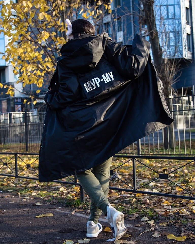 c52d1f8e0b1 Демисезонная куртка-плащ унисекс Hard Stone черная - купить по ...