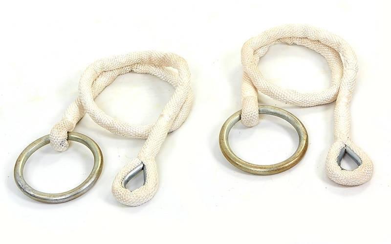 Кольца гимнастические подвесные (канат-нейлон, длина - 1,96 м,кольцо-металл, d-17см)