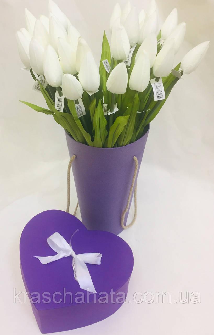 Цветок искусственный, Тюльпан белый, H56 см, Искусственные цветы, Днепр