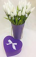 Цветок искусственный, Тюльпан белый, H56 см, Искусственные цветы, Днепр, фото 1